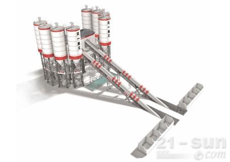 三一HZS180C6骨料输送斜皮带系列搅拌站