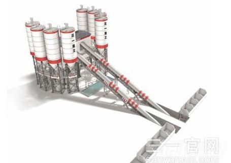 三一HZS180C8骨料输送斜皮带系列搅拌站