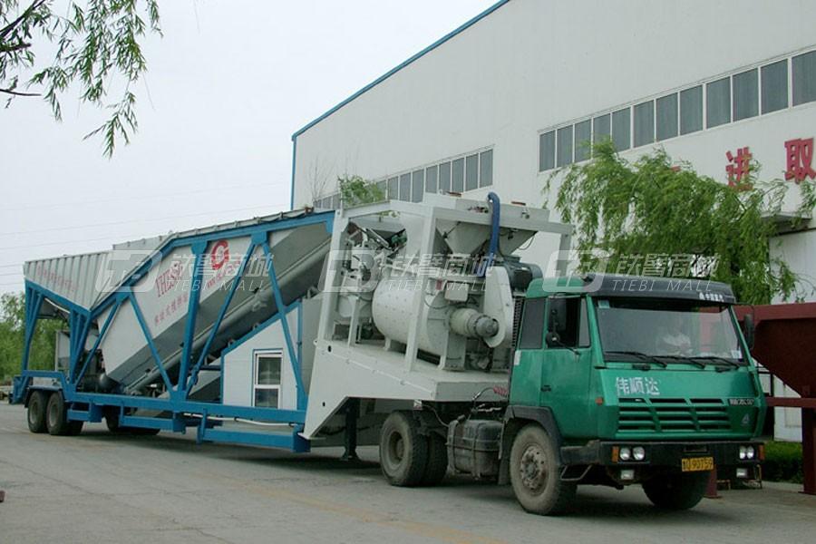 青岛新型建设YHZS50拖挂式移动混凝土搅拌站