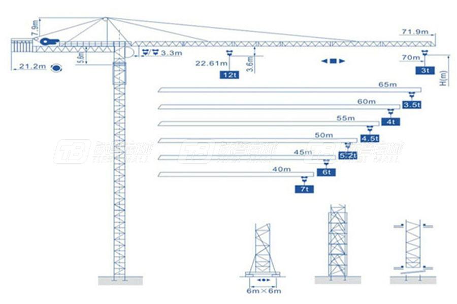 强力建机Q7030(12t)尖头塔式起重机