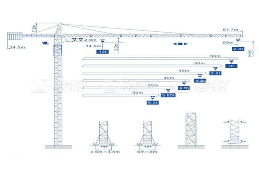 强力建机Q6024尖头塔式起重机