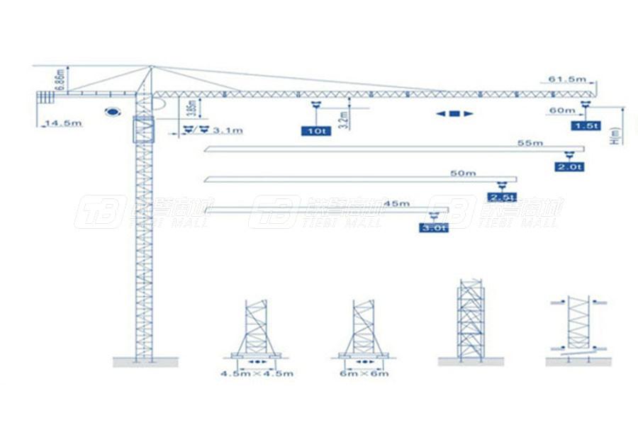 强力建机Q6015尖头塔式起重机