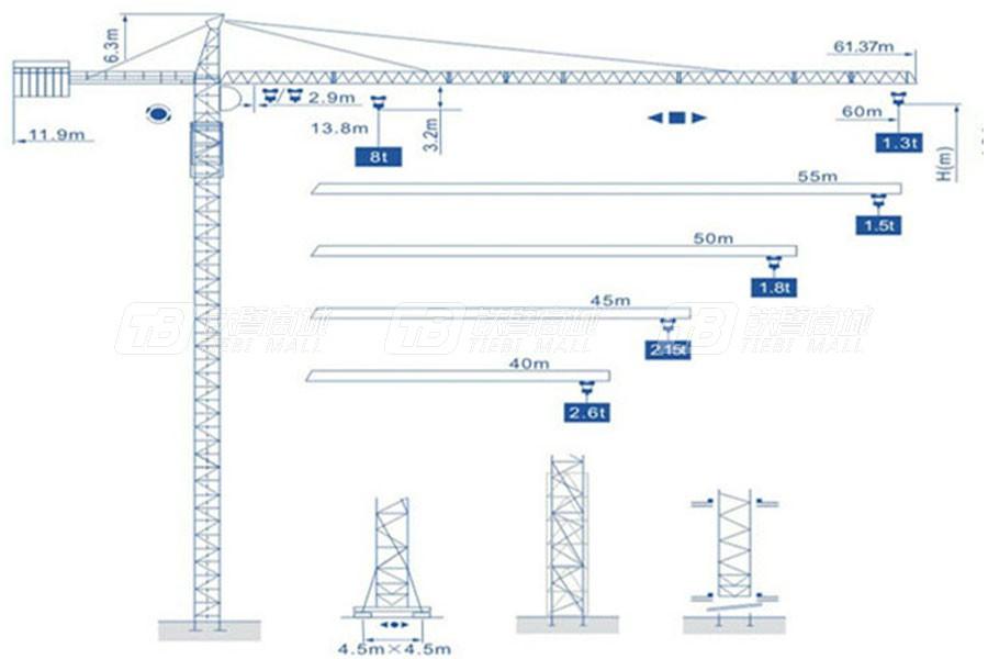 强力建机Q6013(8t)尖头塔式起重机