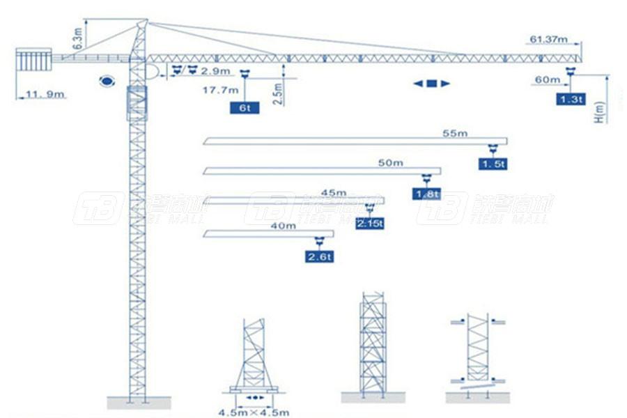 强力建机Q6013(6t)尖头塔式起重机