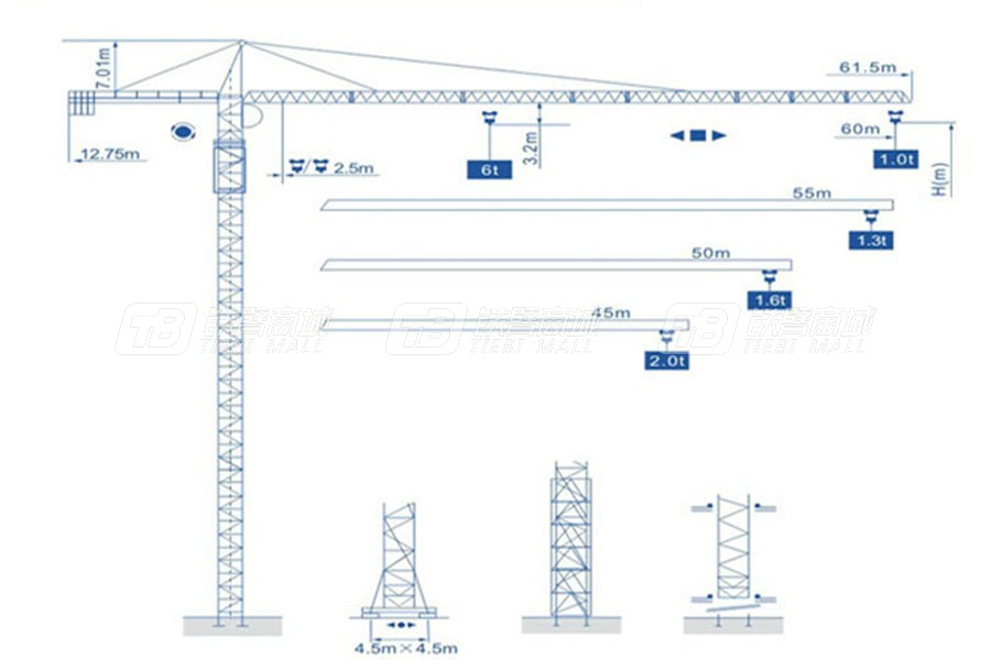 强力建机Q6010(6t)尖头塔式起重机
