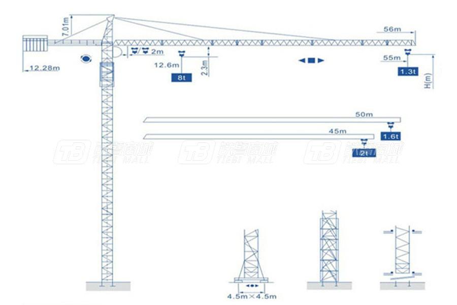 强力建机Q5513(8t)尖头塔式起重机