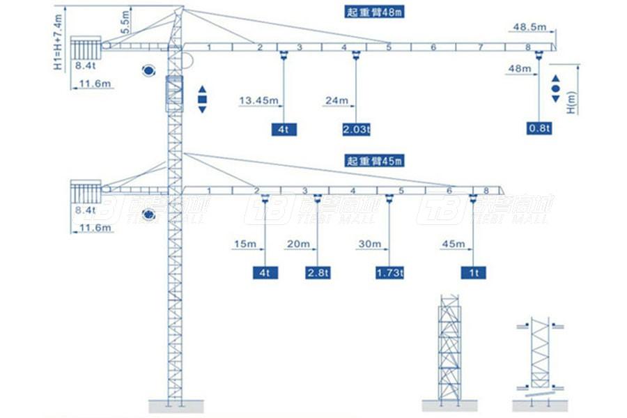 强力建机Q4808(4t)尖头塔式起重机