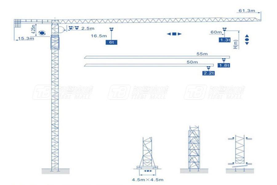 强力建机QP6013(6t)平头塔式起重机