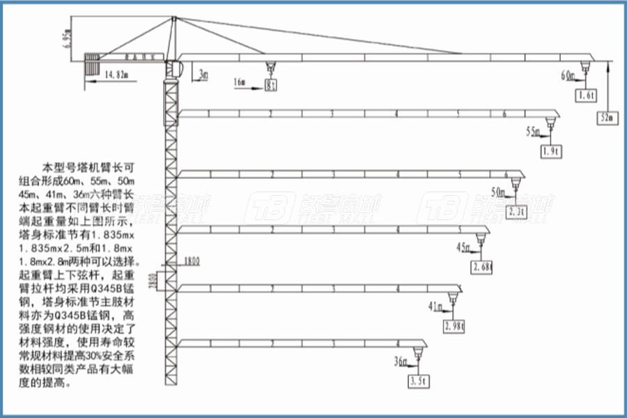 顶实机械QTZ125(TC6016-8)塔式起重机