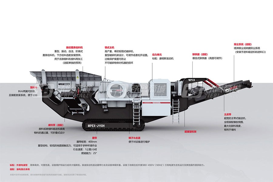 派克斯J130履带移动颚式破碎机