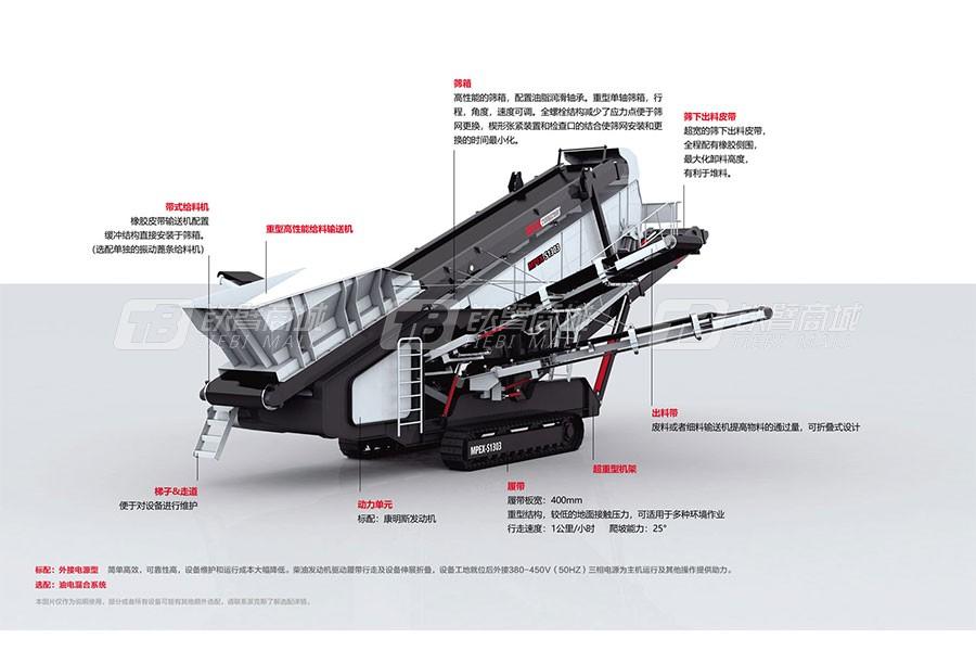 派克斯S1303履带移动倾斜式筛分机