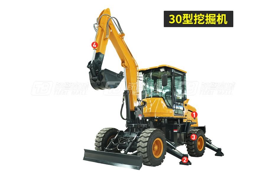 岳工30轮式小挖机轮式挖掘机