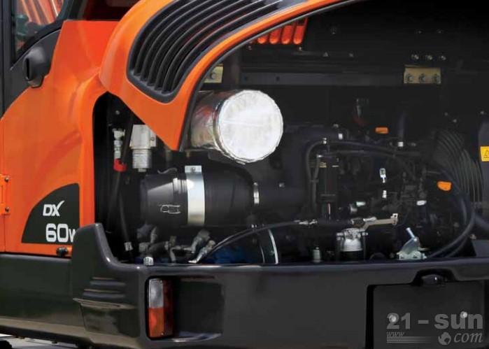 DX60w将小型挖掘机的优势最大化,可广泛用于市政、道路等作业环境下,给用户提供更舒适、更安全、性价比更高的作业性能,从而带来高附加价值。 宽广舒适的驾驶空间和用户为主的便利系统 精良的液压系统带来的真正的作业性能 顶尖的耐久性和优良的维修性 由高性能环保型发动机和完美的液压系统带来的 强大的作业性能同于小车水平的宽广舒适的驾驶空间成为国内外小型挖掘机的新基准。 DX60w以高性能发动机为基础,为其提供了卓越的行走性能和驱动力,从而带来优秀的爬坡能力和作业能力,可适用于斜坡、险地等任何作业环境。 D